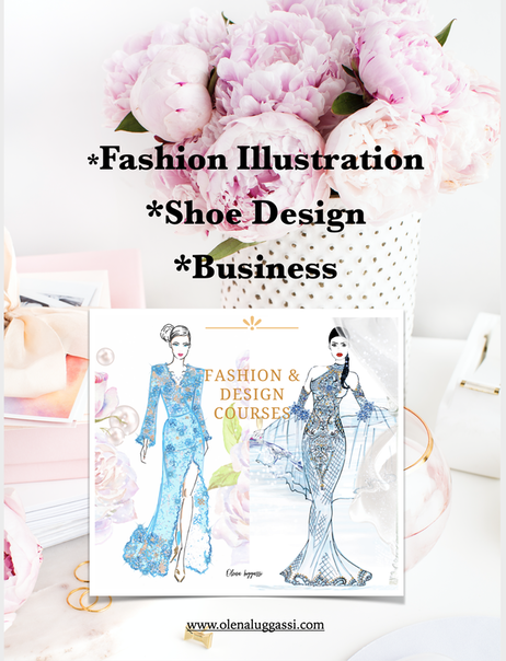 Olena Luggassi classes and courses. Fashion illustration online course. Shoe design online course.